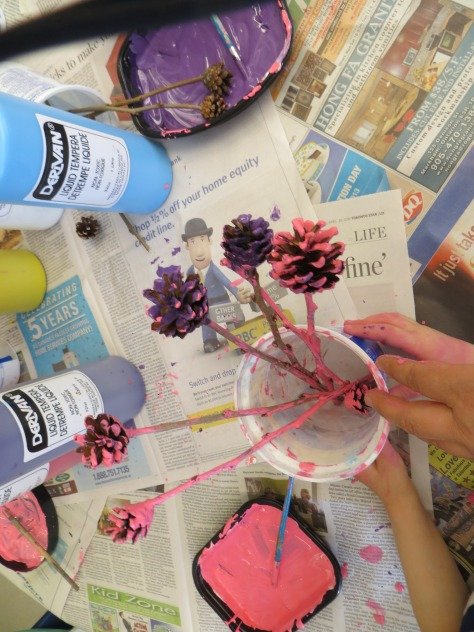 painting pinecones